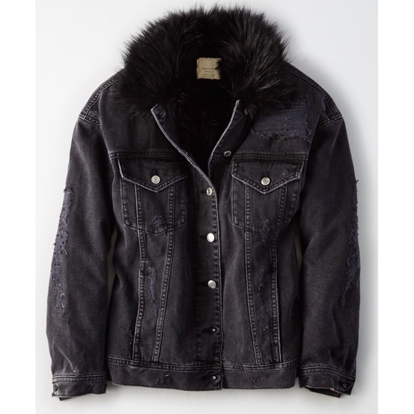 American Eagle Outfitters Jackets Coats Nwt Ae Black Distressed